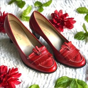 Talbots Red Leather tassel heeled fringe loafers 8